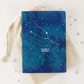 Taurus constellation journal Bujo Zodiac sign Astrology bullet journal Writing journal A7 Dot grid notebook Recycled pages Mindfulness gift