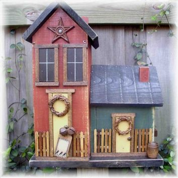 Primitive Double Folk Art Birdhouse
