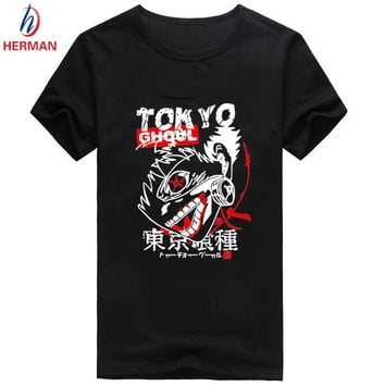 Tokyo Ghoul Anime Printed T shirt Men Japanese Manga Ken Kaneki T-shirt Fashion Harajuku Hip Hop Swag Cheap Clothing,PY014