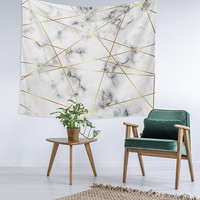 Geometric Marble Gold Custom Printed Unique Dorm Decor Apartment Decor Trendy Wall Art Printed Wall Hanging Wall Tapestry