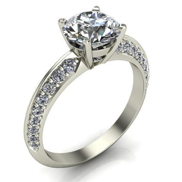 Cassia Forever One Charles & Colvard Moissanite Round Solid .950 Platinum Quad Diamond Shank Princess Ring