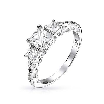 Filigree 3 CT Solitaire 3 Stone CZ Engagement Ring 925 Sterling Silver
