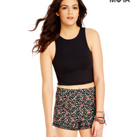 Aeropostale Womens Solid Sleeveless Cross-Back Crop Top
