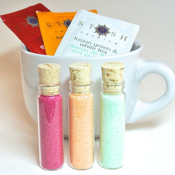 White Cappuccino Mug with Tea and Flavored Sugar- Oversized, Extra Large Coffee Mug, Flavored Sugar, Tea Lover's Gift Set