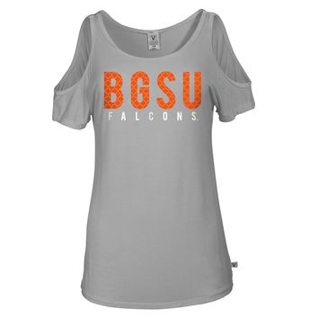 Official NCAA Bowling Green Falcons BGSU Freddie Falcon Women's Cold Shoulder Tee