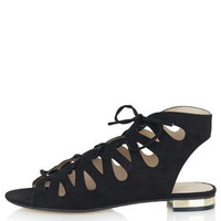 HELLO Lace Up Gladiator Shoes - Black
