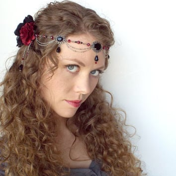 Gothic Vampire Headpiece with Flowers and Chain