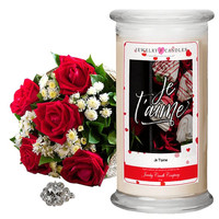 Je T'aime Valentine's Day Jewelry Greeting Candles