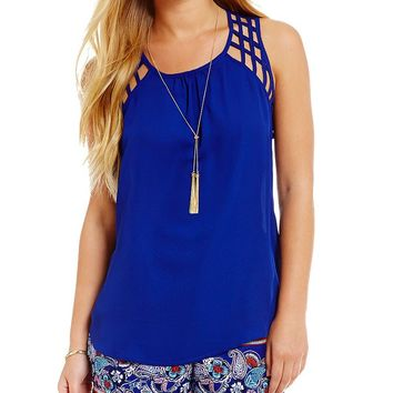 Takara Lattice Detail Tank Top | Dillards