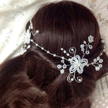 "Wedding Hair Vine,Tiara, headband,crown,boho, brow band,bridal ,flower girl, prom, festival ,french/victorian beaded flowers, 16""/41cm"