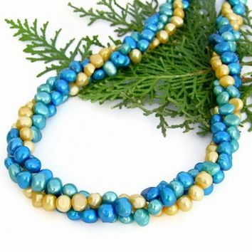 Twisted Multi Strand Pearl Torsade Necklace Handmade, Turquoise, Yellow, Summer Jewelry