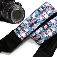 Floral Camera Strap. Flowers Camera Strap. Black Blue Camera Strap. Dslr Camera Strap.  Accessories