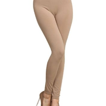 Solid Fleece Lined  Leggings, Beige (OS Fits Most)