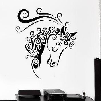 Wall Decal Animal Horse Mustang Ornament Tribal Mural Vinyl Decal Unique Gift (z3304)