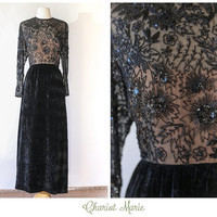Vintage Beaded Velvet Gown - Formal Black Velvet Maxi Dress with Detailed Beading - 1960's Beaded Velvet Gown by Victoria Royal LTD