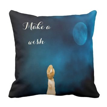 Make a wish with a girl angel and full moon throw pillow
