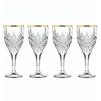 Godinger Dublin Gold Rim Goblet Glasses, Set of 4 - Gold