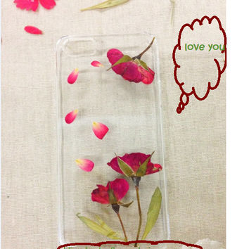Handmade Real  Natural Pressed Flowers iphone 6 6 plus case iphone 4s 5 5s 5c case cover new design samsung galaxy s5 note2 note 3 case rose