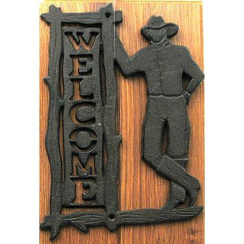 Welcome Cowboy Plaque