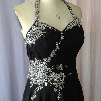 Sexy Halter Strap Stunning Rhinestones Crystals Black Chiffon Floor Length Formal Prom Dress Evening Dress ET068