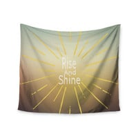 "Suzanne Carter ""Rise And Shine"" White Yellow Wall Tapestry"