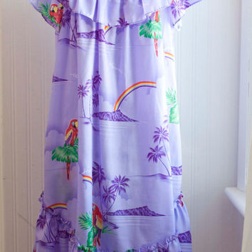 Vintage Hawaiian Mumu in Purple with Parrots, Womens Hawaii Dress by Casual Wear, Ruffled Top with Pocket, Size Small  Tropical Summer