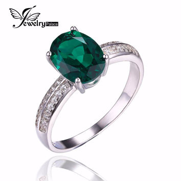 2ct Gem Stone Nano Russian Emerald Engagement Set Ring Fashion For Women Genuine Real Pure S925 Sterling Silver Fine Jewelry