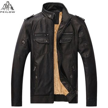 winter Jackets Men Motorcycle Leather Jacket Male Coats Warm Velvet Hombre Outerwear brand parka coat men clothing