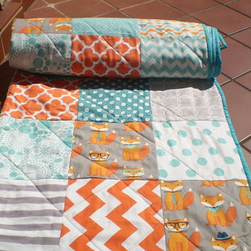 Modern baby quilt,baby quilt,baby boy bedding,baby girl quilt,rustic,woodland,crib,lap, fox,orange,grey,teal,aqua,chevron,toddler-Fox Whimsy