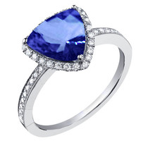 Trillion �AAA� tanzanite & round diamonds anniversary ring 4.01 carat