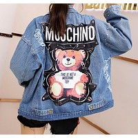 MOSCHINO Fashion Women Casual Cute Bear Print Rivet Long Sleeve Denim Cardigan Jacket Coat