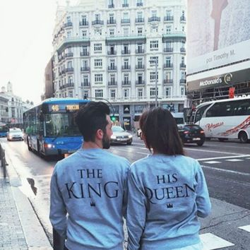 T shirt women queen English letters printed Hot King lovers Fashion 2016 Fleece