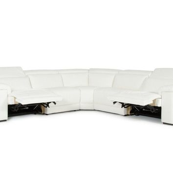 Estro Salotti Palinuro White Leather Sectional Sofa w/Recliners