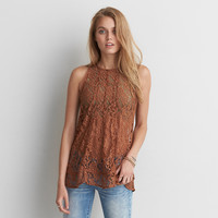 AEO Lace-Up Back Tank, Tan