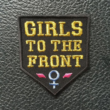 GIRLS to the FRONT iron on patch - BLACK - feminist embroidery - riot grrrl scout