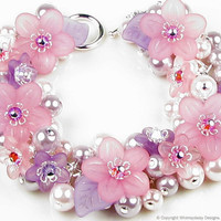 Pixie Dust Floral Charm Bracelet by whimsydaisydesigns on Etsy