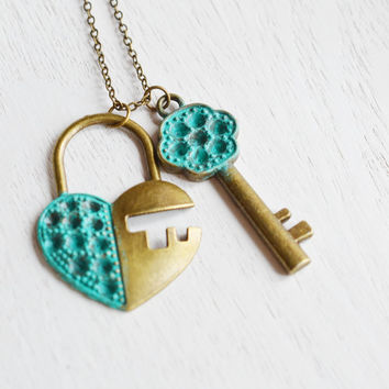 lock and key necklace,best friend necklace,key to my heart,patina verdigris,couple gift,his and hers anniversary gift,patina key lock charm