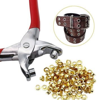 100 Pcs 4mm Titanium Eyelets Washer Leather DIY Shoes Cloth Craft Repair Grommet
