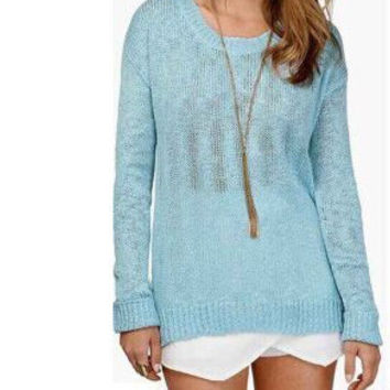 Light Blue Long-Sleeve Cutout Back Knitted Shirt