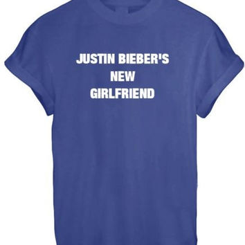 JUSTIN BIEBER NEW GIRLFRIEND SASSY CUTE LADY BELIEBER WOMEN T SHIRT TOP TEE NEW - BLUE