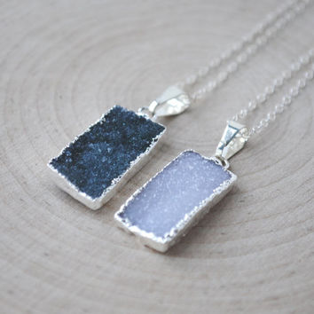 Rectangle Druzy Necklace, Silver Druzy Necklace, Dark Green Druzy Necklace, Natural Druzy Necklace