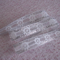 5 YARDS, Lace Trim, White with Silver, Beading Lace,Bows,Trims,Sachets,Scrapbook Embellishment,Apparel,Christmas Trim,Lace for Invitations