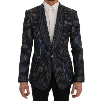 Dolce & Gabbana Blue Dragon Silk Slim Fit Blazer Jacket
