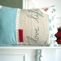 Embroidered Pillow Cover 'Love life' cushion in by ThreeRedApples