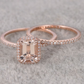 2pcs Emerald Cut Morganite Wedding Set Full Eternity Diamond Bridal Ring 14k Rose Gold Thin Pave Band