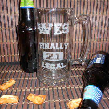 21st Birthday Beer Mug, Deep Etched Birthday Beer Mug - Personalized Customized Name