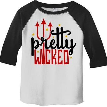 Kids Funny Halloween Shirt Boo Pretty Wicked Pitchfork Halloween Shirts Ghost 3/4 Sleeve Raglan Toddler Boy's Girl's