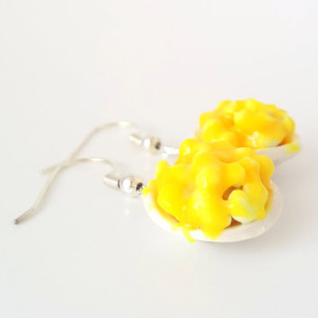 Miniature Mac and Cheese Earrings in Silver Plated or Sterling Silver, Polymer clay Mac and Cheese, Food Jewelry, Macaroni and cheese