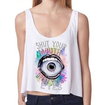 One-nice™ Fashion open your eyes letters print white vest top crop top