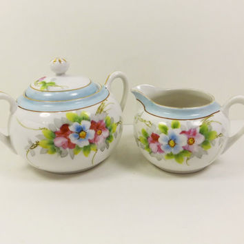 Nippon Sugar and Creamer Set, Hand Painted Porcelain Cream Pitcher & Sugar Bowl with Lid, Nippon Green Crown, Blue Floral Tea Party